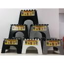 B & R Plastics 101-6BWG E-Z Foldz Two-Tone Step Stool - Black, White, Grey