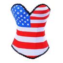 Muka Satin United States of America USA Flag Pattern Fashion Corset Top, Burlesque Costume Corset