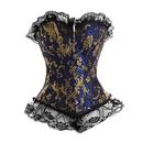 Muka Blue Brocade Fashion Corset with Black Lace, Gift Idea