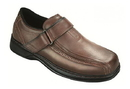 Orthofeet 587 Lincoln Center, Men's Dressy Oxford - Hook-And-Loop Strap, Brown