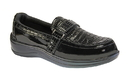 Orthofeet 819 Chelsea, Black Croc-Textured Leather  - Women's Easy Slip-On With Two-Way Strap System