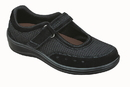 Orthofeet 851 Chattanooga, Women's Breathable Mesh Mary Jane - Two-Way-Strap, Black