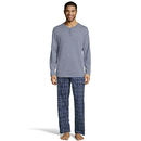 Hanes 3003B Men's Henley Crew with Flannel Pant PJ Set
