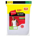 Hanes Men's White TAGLESS ComfortSoft A-Shirt Undershirt 7-Pack (Includes 1 Free Bonus A-Shirt) - Limited Time Offer , 372AG7