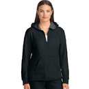 Hanes 4B01 Women's French Terry High Low Zip Hoodie - Black