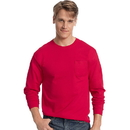Hanes 5596 Men's TAGLESS Long-Sleeve T-Shirt with Pocket