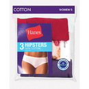 Hanes D41LAS Women's Cotton Hipsters, 3-Pack
