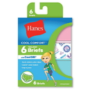 Hanes GCSCB6 Girls' Cool Comfort Briefs with Cool Dri® 6-Pack