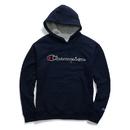 Champion GF89H-Y07416 Men's Powerblend Fleece Pullover Hoodie, Felt Script Logo With Chainstitch