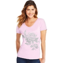 Hanes GT9337-Y07647 Women's Floral Semplice Short-Sleeve V-Neck Graphic Tee