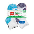 Hanes HGBA10 Girls' Cool Comfort Ankle Socks 10-Pack