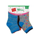 Hanes HGFA10 Girls' Fashion Ankle Socks 10-Pack