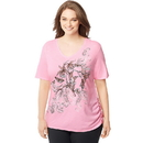 Just My Size J342 Women's Plus-Size Short-Sleeve V-Neck Graphic T-Shirt with Side Shirring