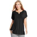 Just My Size OJ248 Short-Sleeve Slub-Jersey Women's Tunic with Split V-Neck Crochet Bib Yoke