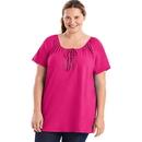 Just My Size OJ250 Short-Sleeve Slub-Textured Cotton Women's Tunic with Crochet Trim & Tie