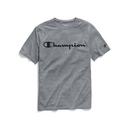 Champion T0766G 549988 Men's Double Dry Heather Mesh Textured Tee, Script Logo
