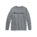 Champion T3760G 549988 Double Dry Men's Heather Long-Sleeve Tee, Script Logo