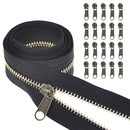 TOPTIE #5 Metal Zipper by The Yard, Bulk 10 Yards with 20 Pcs Sliders for Tailor Sewing Craft