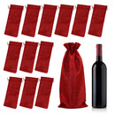 TOPTIE 12pcs Burlap Wine Bags, 14 x 6 inch Hessian Wine Bottle Gift Bags with Drawstring