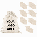 Custom 50PCS Burlap Gift Bags with Drawstring, Personalized Linen Jewelry Pouches