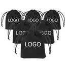 Custom 50pcs Drawstrings Velvet Gift Bags, Logo Printed Pouches for Wedding Favors