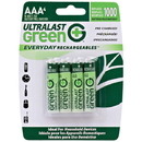 Ultralast ULGED4AAA Green Everyday Rechargeables AAA NiMH Batteries, 4 pk