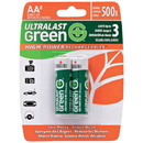 Ultralast ULGHP2AA Green High-Power Rechargeables AA NiMH Batteries, 2 pk