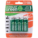 Ultralast ULGHP4AA Green High-Power Rechargeables AA NiMH Batteries, 4 pk
