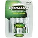 Ultralast ULN4AASL AA Rechargeable NiCd Batteries for Solar Lights, 4 pk