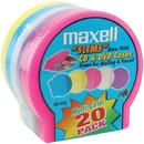 Maxell 190073 Slim CD/DVD Shell Cases, 20 pk (Assorted Colors)