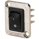 Switchcraft EHRRSL Curved Rocker Switch I/O DPDT Black/Nickel with 4-40 screws