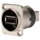 Neutrik NAUSB-W Feed-thru Reversible USB A/B Adapter D Panel Mount Nickel