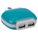 Reiko TC100 2A USB Power Adapter 2-Port 5 VDC Blue