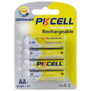 PKCELL 4-Pack AA Rechargeable NiMH 2800mAh Battery