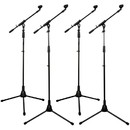 Talent Tripod Mic Stand with Telescopic Boom 4-Pack