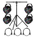 Parts Express Stage and Disco DJ Party Mini PAR LED Lighting Bundle Combo #10