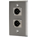 Pro Co WPN1008 (2) XLR Male Stainless Steel Metal Wallplate Single Gang