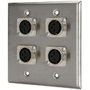 Pro Co WP2035 (4) XLR Female Stainless Steel Metal Wallplate Dual Gang