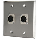 Pro Co WP2009 (2) XLR Stainless Steel Metal Female Wallplate Dual Gang