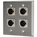 Pro Co WP2012 (4) XLR Male Stainless Steel Metal Wallplate Dual Gang