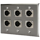 Pro Co WP3004 (6) XLR Male Stainless Steel Metal Wallplate Triple Gang