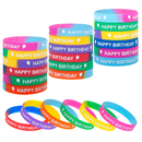 Muka 24 PCS Happy Birthday Silicone Bracelets Elastic Rubber Wristbands Birthday Party Supplies
