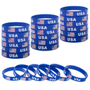 GOGO USA Rubber Wristbands Silicone Bracelet with American Flag for Patriots Army Sport Fans