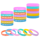 Muka 24 PCS Motivational Bracelets Silicone Wristbands Inspirational Messages Rubber Bands Studying