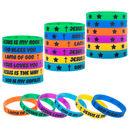 Muka 24 PCS Religious Sayings Silicone Bracelets Christian Wristbands Church Christmas Gift Idea