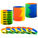 Muka 24 PCS Gay Pride Rainbow Silicone Wristbands Rubber Bracelets Party Favors