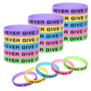 Muka 20/60/120/600 PCS NEVER GIVE UP Silicone Bracelets, Inspirational Wristbands for Fitness Sports