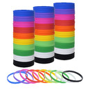 Muka 100 PCS Silicone Bracelets Elastic Thin Rubber Bands Birthday Gifts