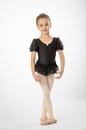 Prima Soft Children'S Leotards 911C Puff Sleeve Ruffle Skirt - Black