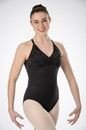 Prima Soft Adult Leotards 912 Flocked Cross-Over Bodice Halter Leotard -Black
